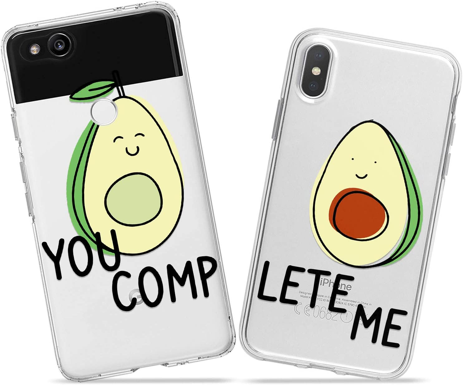 Wonder Wild Cute Avocado Couple Case iPhone Xs Max X Xr 10 8 Plus 7 6s 6 SE 5s 5 TPU Clear Gift Apple Phone Cover Print Protective Double Pack Silicone Alligator Pear Halves Fruit Tropical Food Art