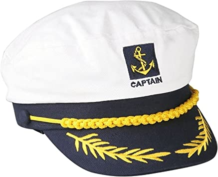Gorro de estilo marinero ajustable, color blanco y azul: Amazon.es ...