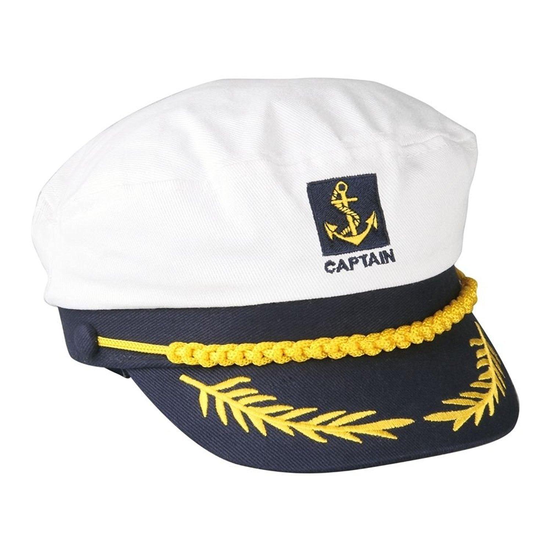 Gorro de estilo marinero ajustable, color blanco y azul: Amazon.es ...
