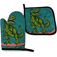 RENGMIAN Dinosaur Surfer Sunglasses Oven Mitts and Pot Holders Heat Resistant Oven Gloves Safe Cooking Baking Grilling