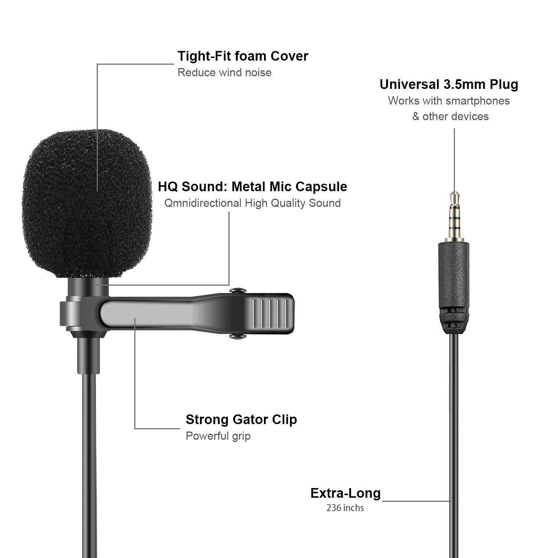 reflex num/érique Mouriv Microphone cravate /à double t/ête Executive appareil photo iPad micro mains libres avec micros /à condensateur omnidirectionnels pour iPhone Smartphones Android Samsung