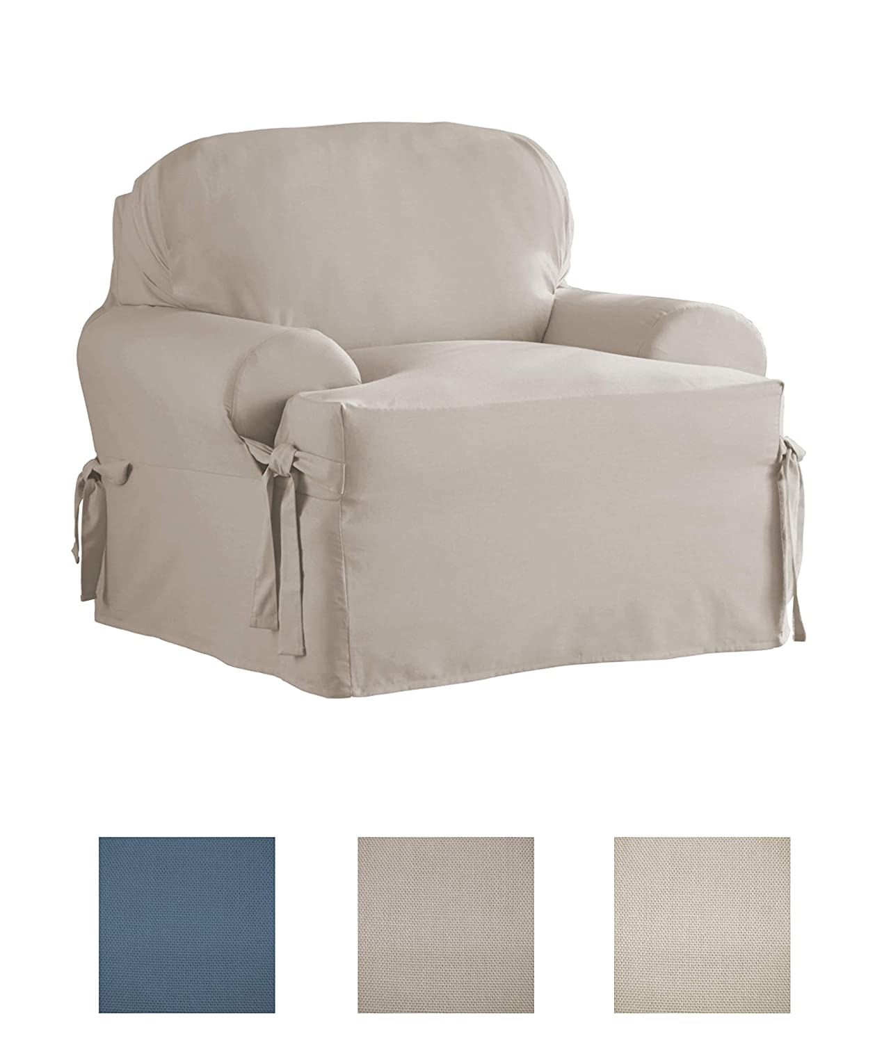 038533833949 Serta Relaxed Fit Durable Woven Linen Canvas Furniture Slipcover T-Chair, Indigo
