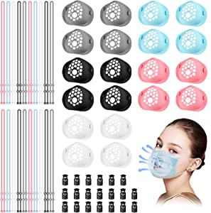 XMY 3D Silicone Mask Bracket Ver2.0, [Food-Grade] High Temperature Resistance Up to 400℃ Odorless and Soft with Support Wing and More Breathing Space, Exercise, Protect LipstickS(40pcs)