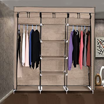 Homdox Portable Folding Fabric Cloth Steel Frame Wardrobe Closet Home Clothes  Storage Cabinet