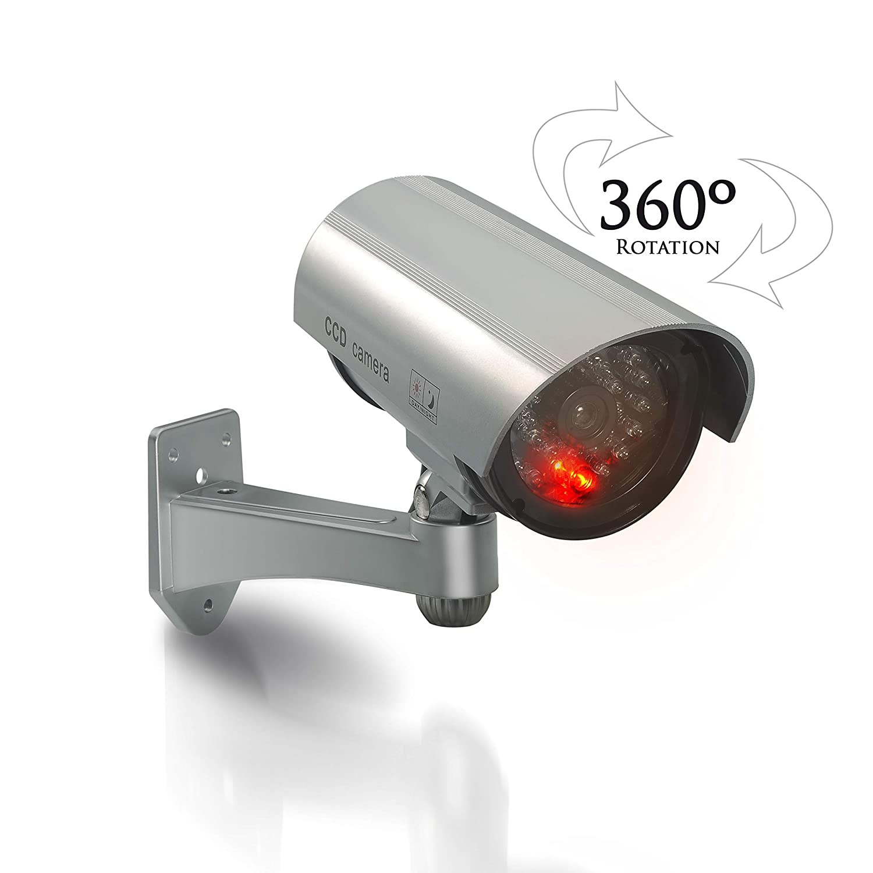 Plateada 2 Pilas C/ámara de Vigilancia Falsa Exterior Luz LED Roja para Espantar Ladrones
