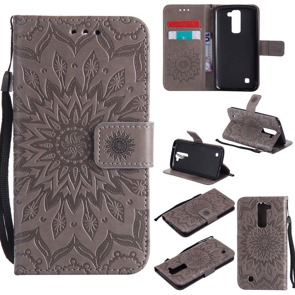 Cover LG K8 (K350N) / K7 (X210) Fiore in Rilievo, Lomogo Custodia Portafoglio in Pelle Porta Carta di Credito con Chiusura Magnetica per LG K8 / K7 - KATU22748 Oro rosa
