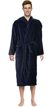 193f4156744 Bath Robe Men's/Boys 100% Cotton Bathrobe Long Hooded Bathrobe 100%  Absorbent Cotton