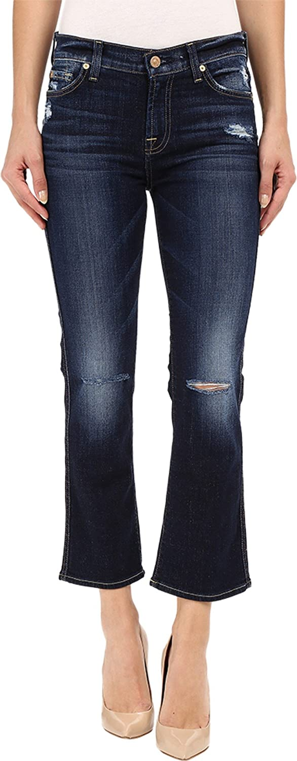 7 For All Mankind Women's Cropped Boot with Holes in