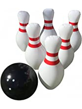 """Giant Inflatable Bowling Game Set - Indoor Outdoor - Jumbo Size - 24"""" Pins and 18"""" Ball - A Great Party Game. Oversized Fun for Kids of All Ages. Bonus: Free Bowling Score Sheets PDF"""