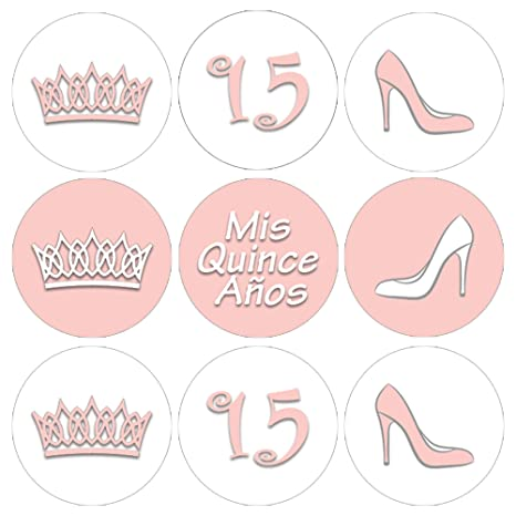 Soft Pink Quinceanera Party Favor Stickers , 180 Labels