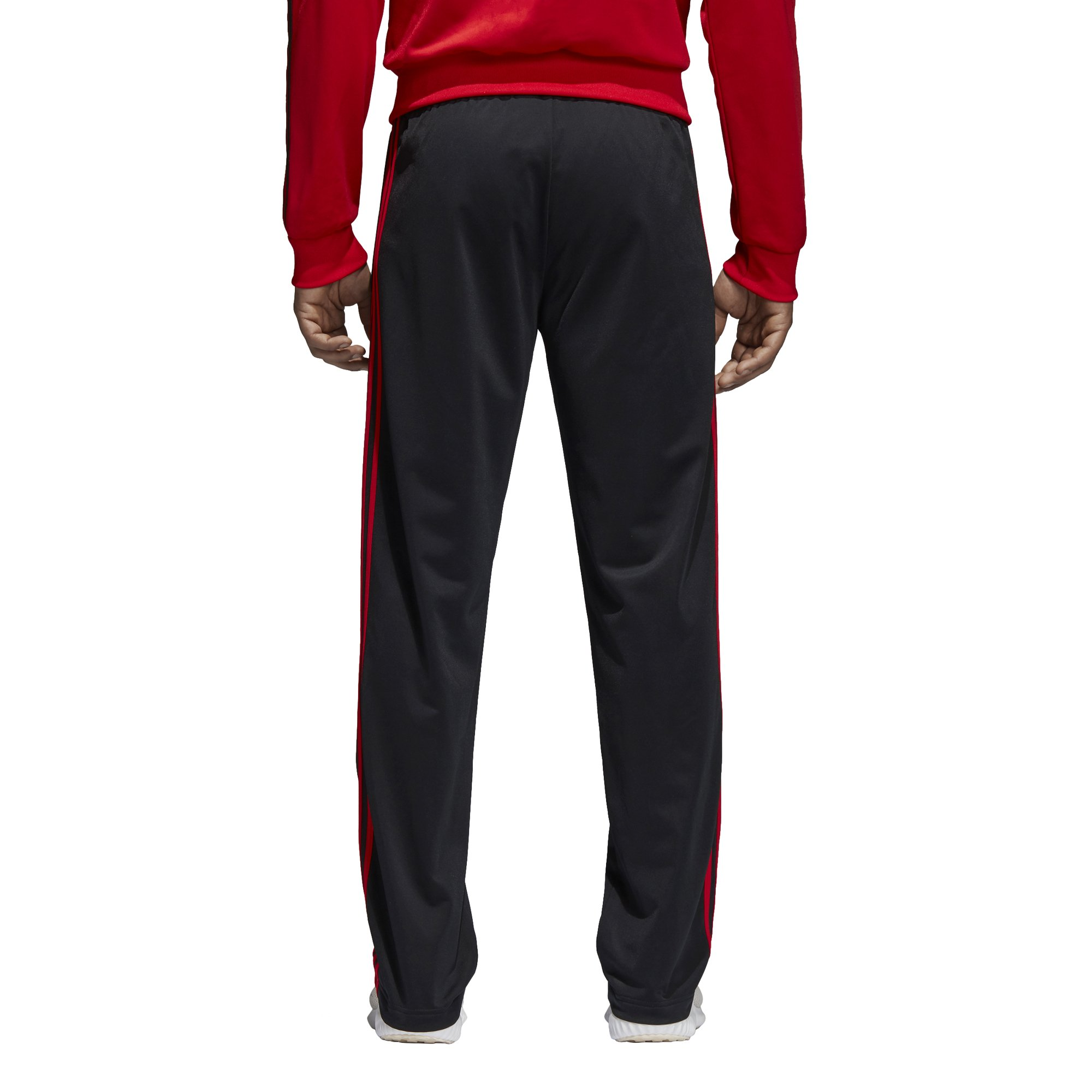 adidas Men's Athletics Essential Tricot 3-Stripe Pants, Black/Scarlet, Small by adidas (Image #5)