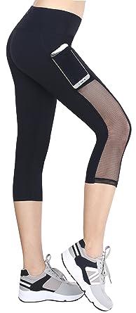 8db069db2c Neonysweets Womens Mesh Capri Workout Yoga Pants Running Tights .