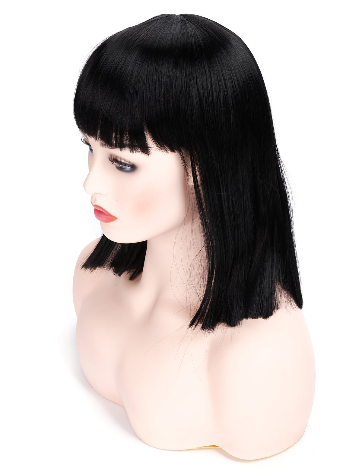 Morvally Short Straight Bob Wig with Flat Bangs Natural Looking Heat Resistant Hair Cosplay Costume Wigs (14 inches Natural Black) by morvally