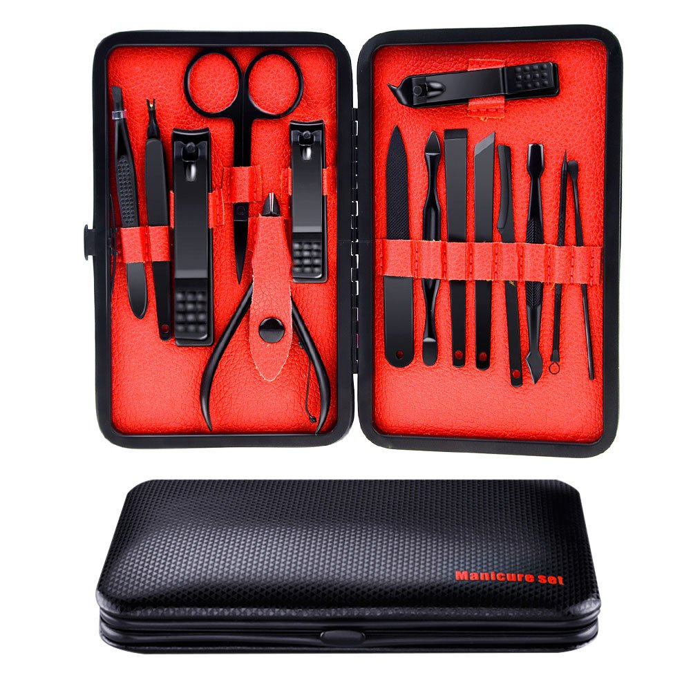 Allnice Manicure Pedicure Set, Manicure Tools Nail Clippers Kit, Cuticle Nipper Nail Cutter Care Set Scissor Eyebrow Tweezer Ear Pick Grooming Kit with Travel Case for Men Women