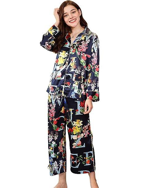 Menschwear Mujer Rayón Pijamas de la Serie Manga Larga Pantalones Pijamas de Ocio: Amazon.es: Ropa y accesorios