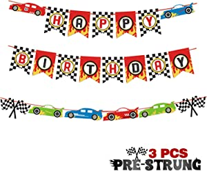 Race Car Happy Birthday Banner Pre-Strung Let's Go Racing Checkered Flag Party Supplies Decoration