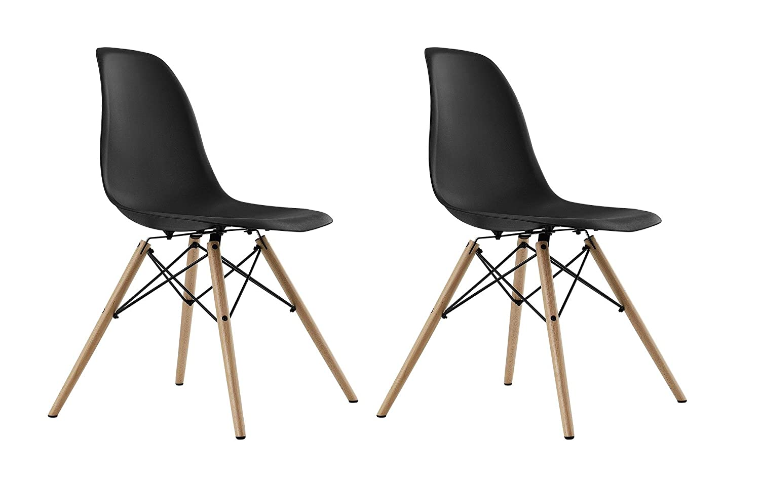 Beau Amazon.com: DHP Mid Century Modern Chairs With Wood Legs, Black, Set Of 2:  Kitchen U0026 Dining