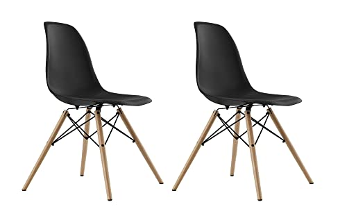 DHP Mid Century Modern Chairs with Wood Legs, Black, Set of 2
