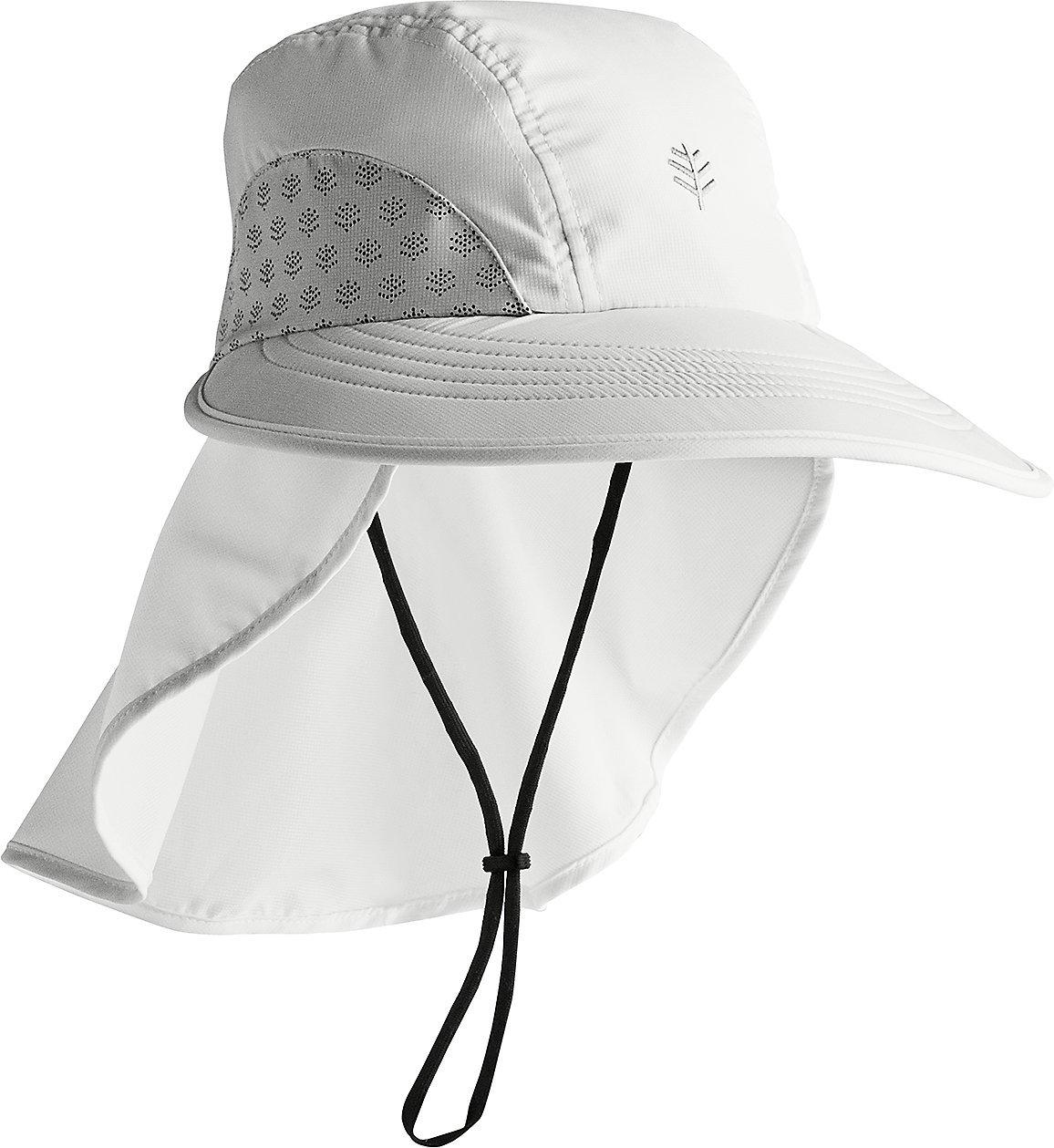 Coolibar UPF 50+ Kids' Explorer Hat - Sun Protective (Small/Medium- White)