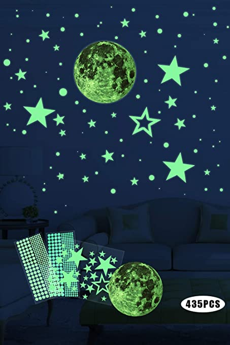 Chambres de B/éb/és ou des F/êtes JMITHA Lune et Etoiles phosphorescentes Stickers Muraux fluorescents Lumineux Autocollant Plafond Lumineuses Stickers pour Chambres denfants