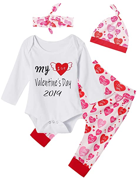 56e774112 Amazon.com  4Pcs Outfit Set Baby Girls My First Valentine s Day Pant ...