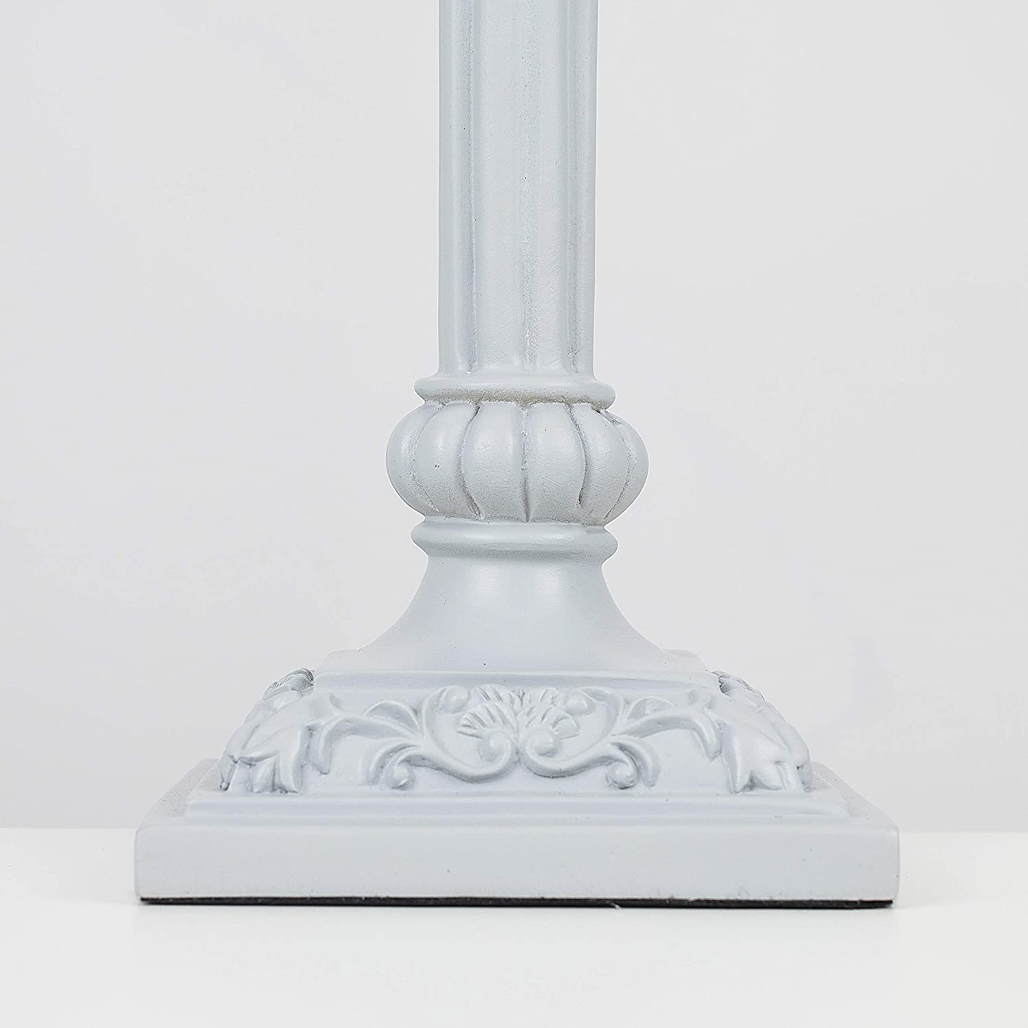 Tall Traditional Cool Grey Sculptured Candlestick Style Table Lamp Base