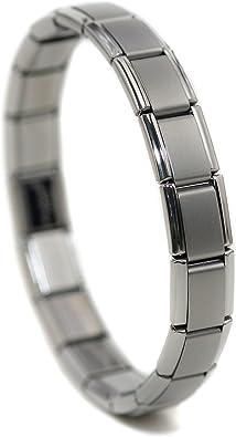 Dolceoro Satin Italian Modular Charm Link Starter Bracelet Jewelry Stainless Steel Stretchable 9mm Type