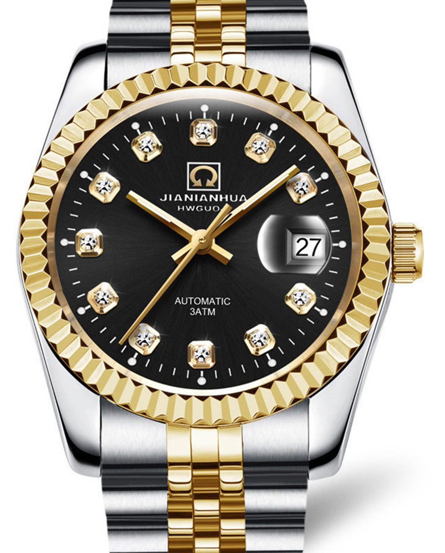 Men Business Luxury Sport Automatic Date Automatic Mechanical Steel Watch Luminous Waterproof Wristwatch (Black)
