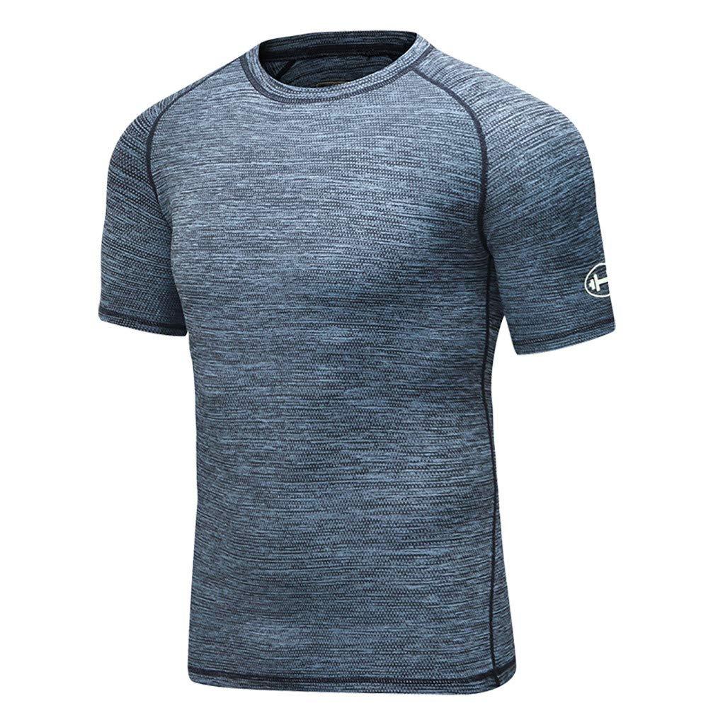 Vovotrade Mens Sport Tee Elastic Fast-Drying Tight Garment Forging Short Sleeve T-Shirt Tops