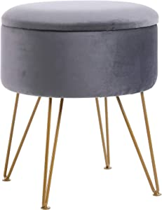 IBUYKE Storage Ottoman Chair Stool Upholstered Footrest Stool Velvet Dressing Table Seat Pouf Couch Stool Golden Steel Legs Removable Cover, (DiaxH) 39X45.5cm LG-004