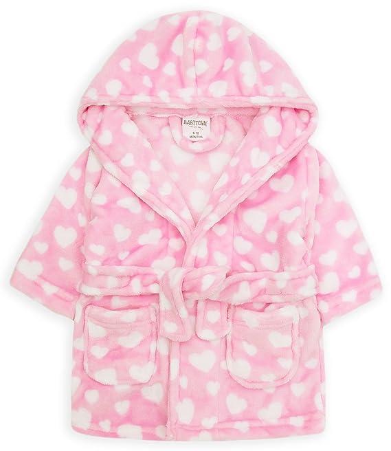 sch/ön Baby Umkleide Morgenmantel Entweder rosa oder blau weicher flauschiger Fleece