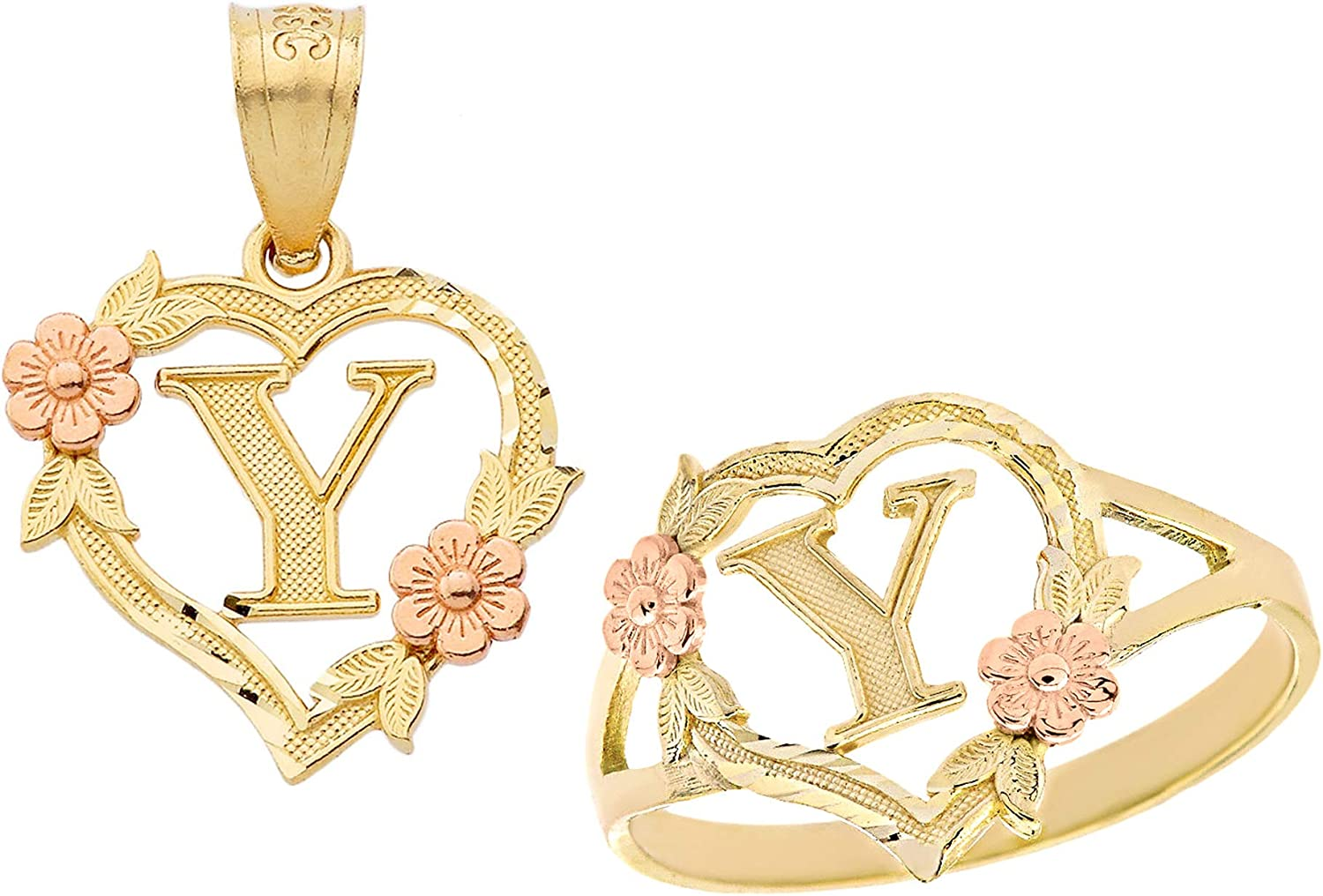 CaliRoseJewelry 10k Gold Initial Heart Pendant and Ring Set Letter Y
