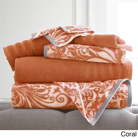 6 piezas rosa Medallion juego de toallas de baño, Coral geométrico floral Damask diseño de