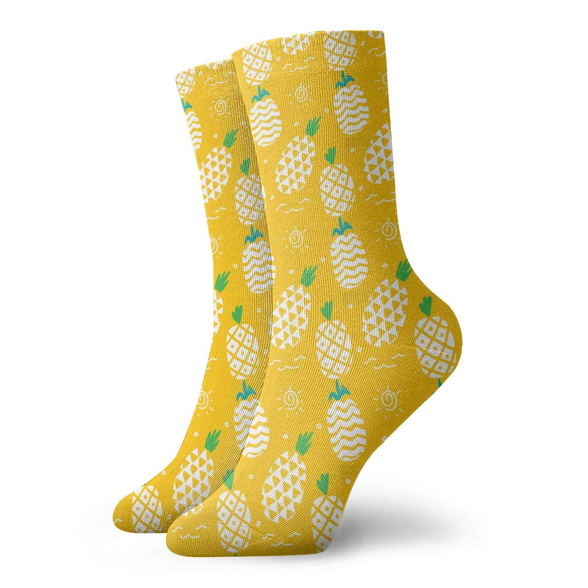 Yellow Cute Pineapple Unisex Funny Casual Crew Socks Athletic Socks For Boys Girls Kids Teenagers