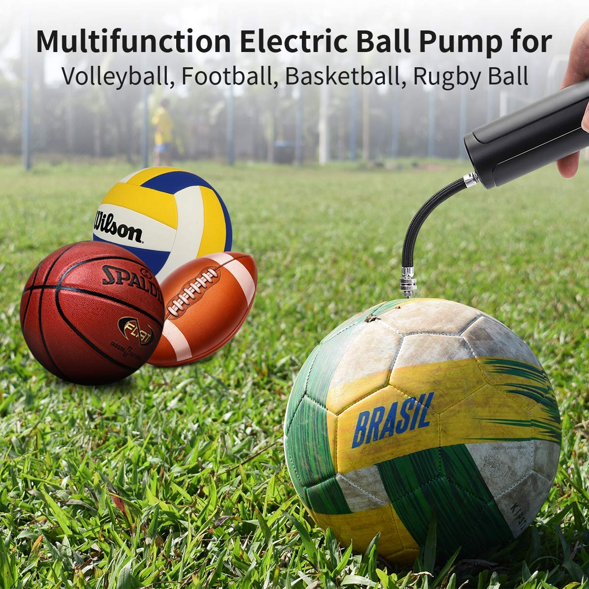 morpilot Football Pump, Electric Ball Pump with Needles, Wireless Handheld Multifunctional Automatic Fast Air Pump for Basketball, Soccer, Rugby Ball, Volleyball, Handball and other Inflatable Balls