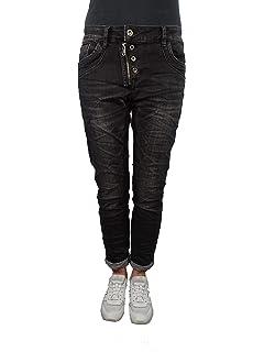 Karostar Baggy Boyfriend Damen Stretch Hose Jeans Knopfleiste front Zip Big Size
