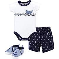 Hudson Baby Unisex Baby Cotton Bodysuit, Shorts and Shoe Set