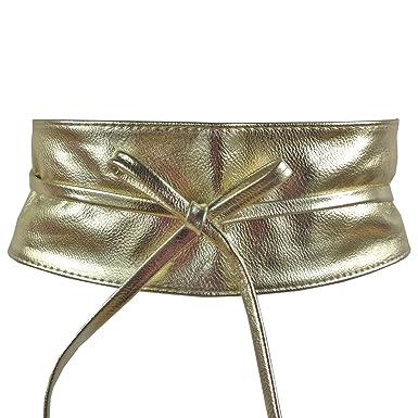 Ceinture bandeau large à nouer simili cuir pour femme -Doré  Amazon ... 9c037c53607