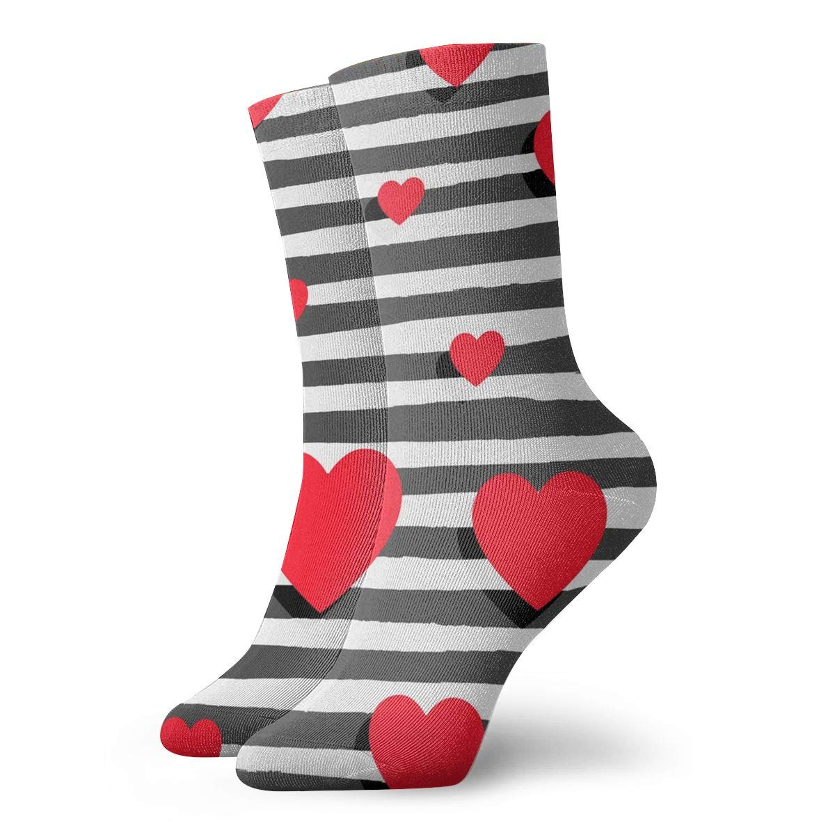 Background With Hearts And Stripes Unisex Funny Casual Crew Socks Athletic Socks For Boys Girls Kids Teenagers