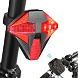 Tohsssik Bike Taillight with Turn Signals USB Rechargeable Bicycle Tail Light with Remote Control, 2018 Upgraded Design