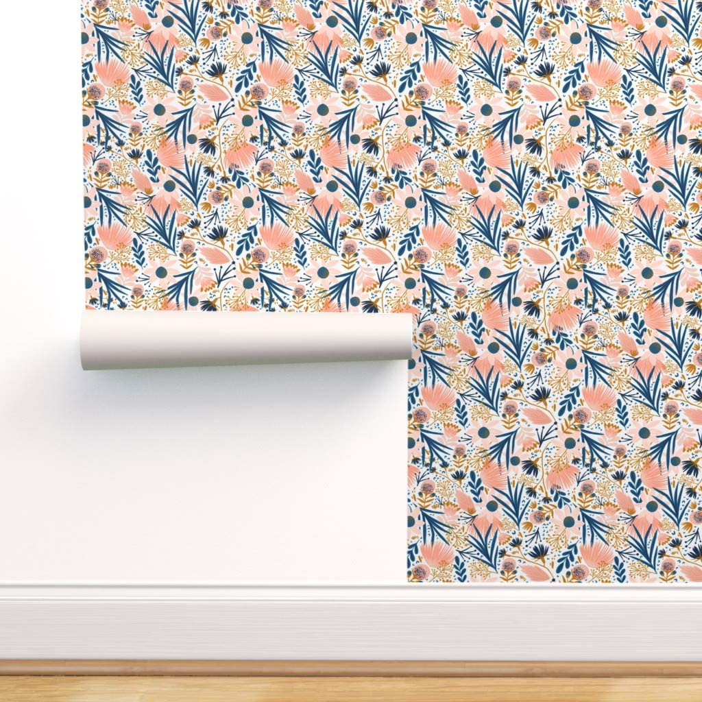 Peel-and-Stick Removable Wallpaper - Modern Botanical Floral Chintz Coral Blue Gold Blush Garden Wildflower by Fineapple Pair - 24in x 72in Woven Textured Peel-and-Stick Removable Wallpaper Roll