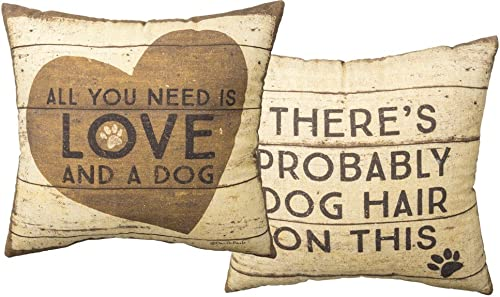 Primitives by Kathy Double-Sided Throw Pillow, 16 x 16-Inches, Love and a Dog