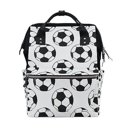 TIZORAX - Mochila para bebé con diseño de balón de fútbol, color blanco envejecido, gran capacidad, multifunción, bolsa para pañales, mochila de viaje para ...