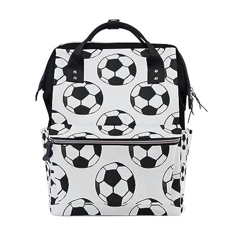 TIZORAX - Mochila para bebé con diseño de balón de fútbol, color blanco envejecido,