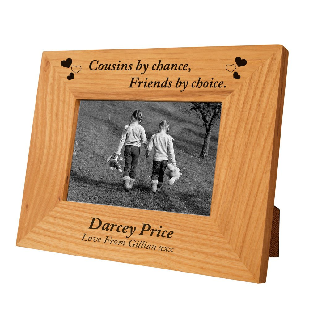 engraved cousin oak frame personalised cousin gift idea special cousin to cousin present