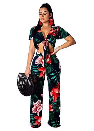 243976d4d9 Women Floral 2 Piece Outfits Clubwear Summer Crop Top Flare Pants Suit Set  Red S