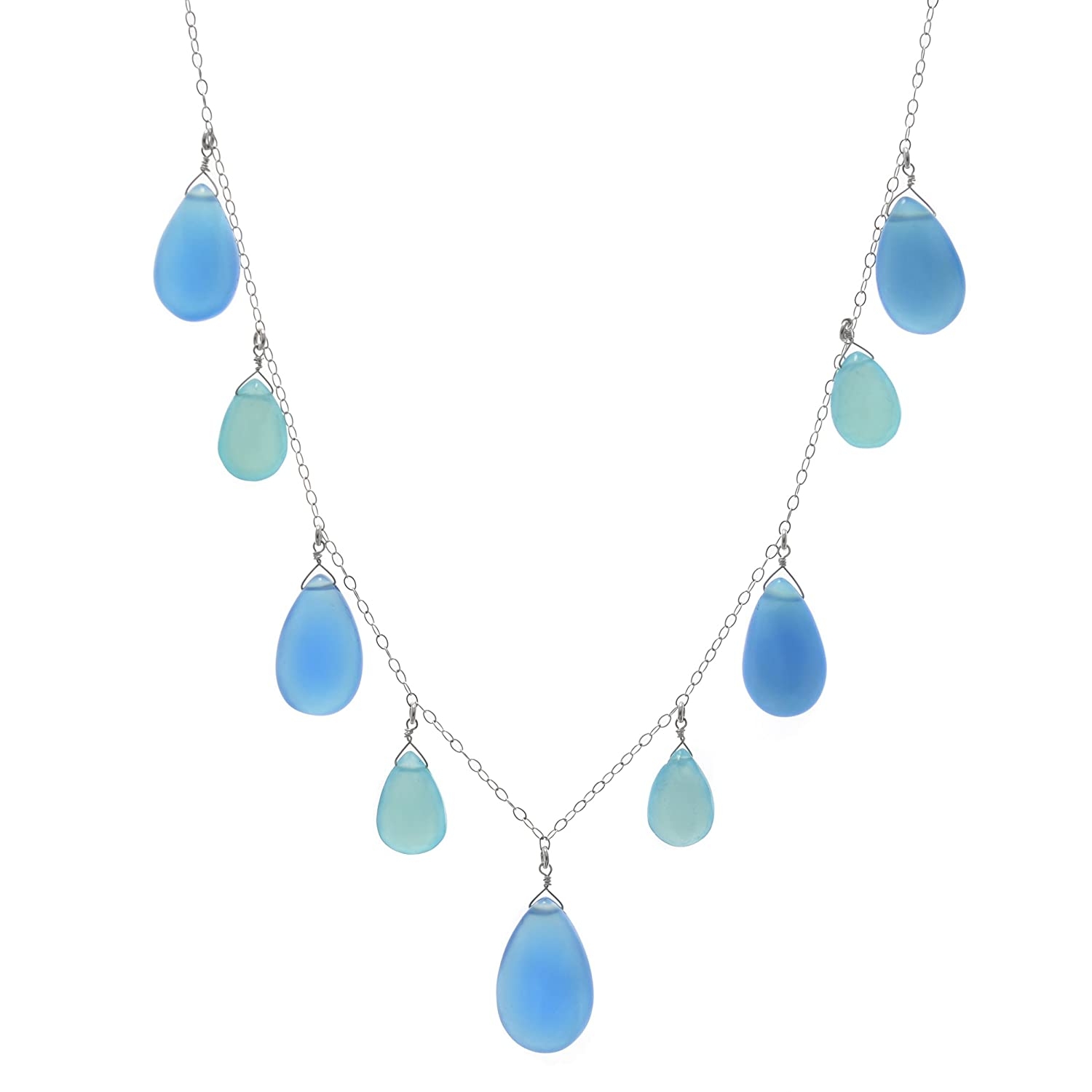 9f6638269 Amazon.com: ASHANTI Blue Chalcedony Briolette Natural Gemstone Sterling  Silver Handmade 18 inch Necklace: Jewelry