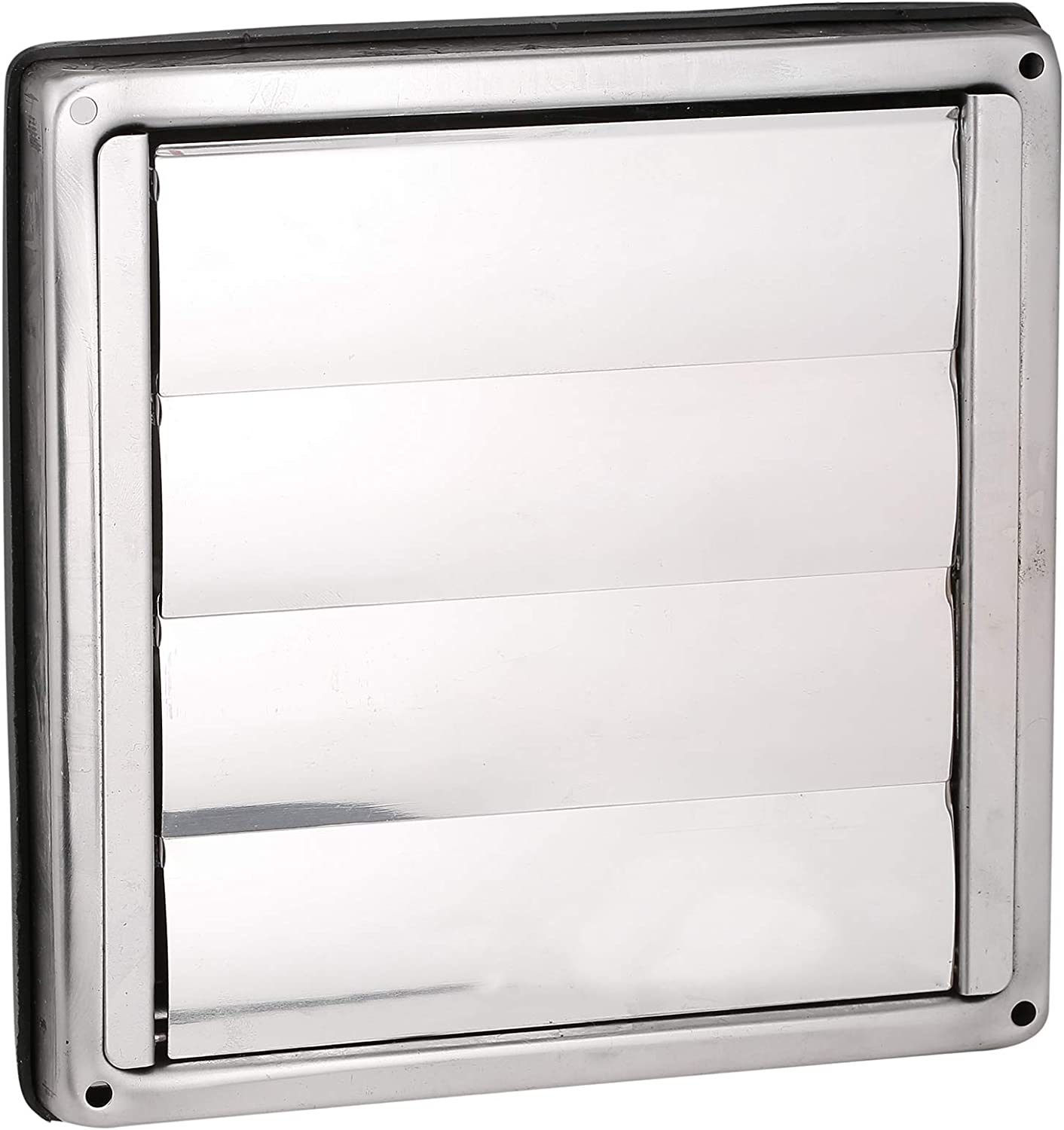 First4spares 6 150mm Stainless Steel Square External Wall Extractor Air Vent Grill Outlet With Gravity Flaps