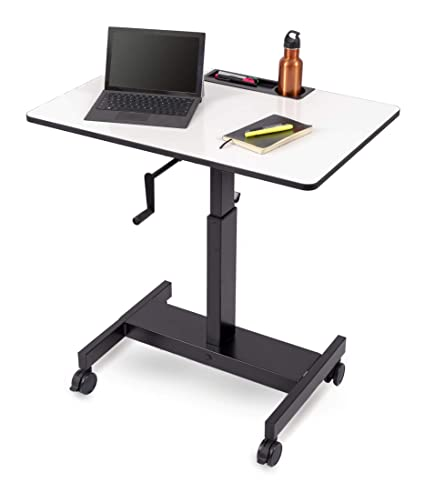 Adjustable Stand Up Desk >> Amazon Com Single Column Crank Adjustable Stand Up Desk Charcoal