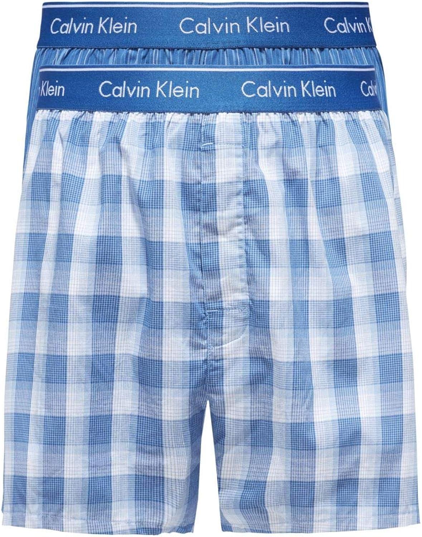 Calvin Klein Hombre Pack de 2 Boxeadores de Corte Slim de Talle bajo, Azul: Amazon.es: Ropa y accesorios